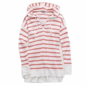 AERIE Striped Ribbed Sweater Hoodie